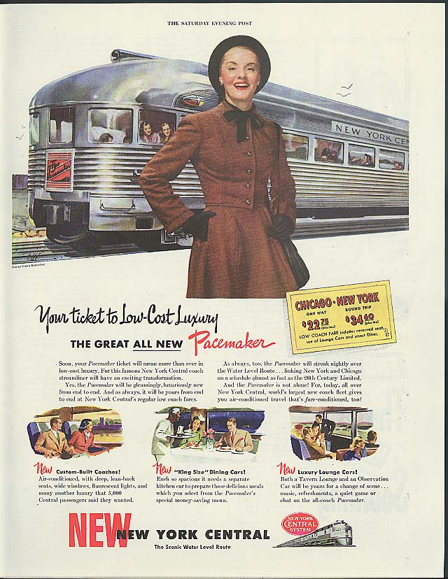 Image for Ticket to low-cost Luxury New York Central RR Pacemaker ad 1947