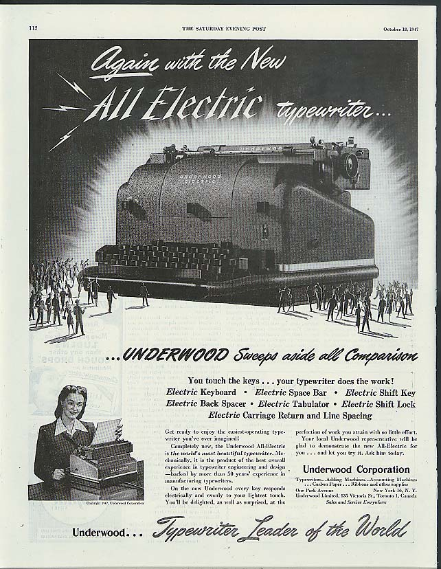 Again with the New All Electric Typewriter from Underwood ad 1947