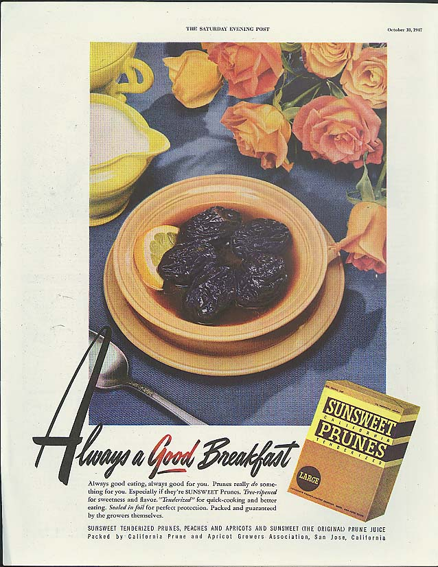 Always a Good Breakfast Sunsweet Prunes ad 1947
