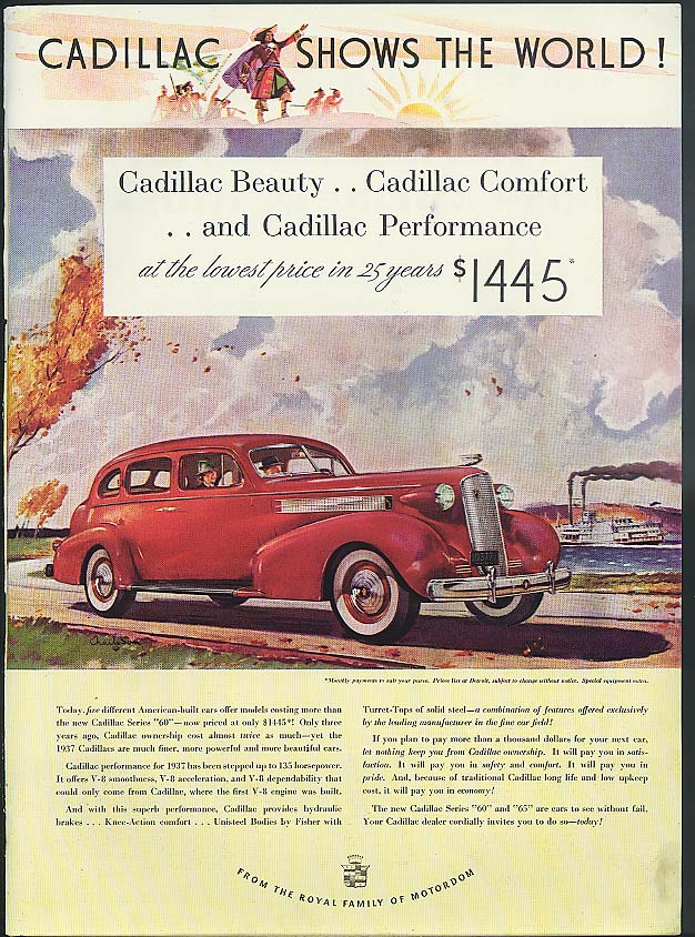 Cadillac shows the World Beauty Comfort Performance Series 60 ad 1937