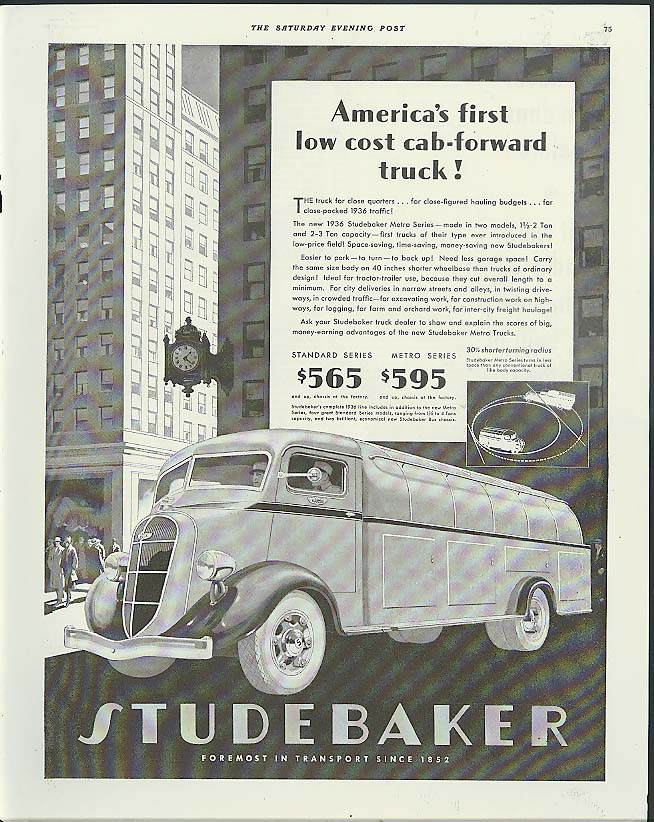 America's first low cost cab-forward truck! Studebaker Metro Oil Truck ad 1936