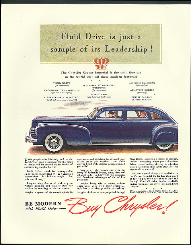 Image for Fluid Drive is just a sample of its leadership Chrysler Crown Imperial ad 1941