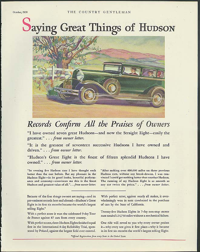Image for Saying Great Things of Hudson Great Eight Sedan ad 1930