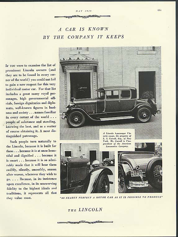 A Car is Known by the Company it Keeps Lincoln Victoria Coupe ad 1929