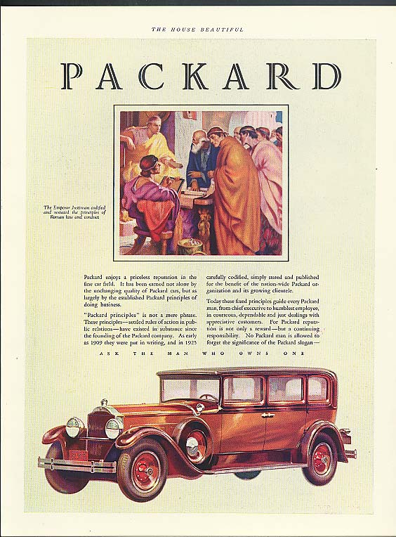 A priceless reputation in the fine car field Packard 4-door sedan ad 1929