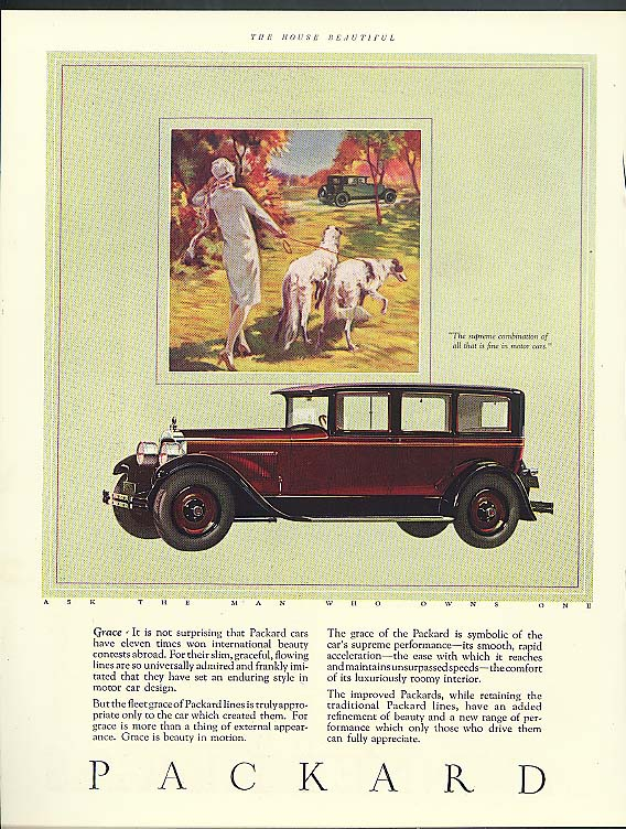 Grace - international beauty contests Packard ad 1926 1927 wolfhounds