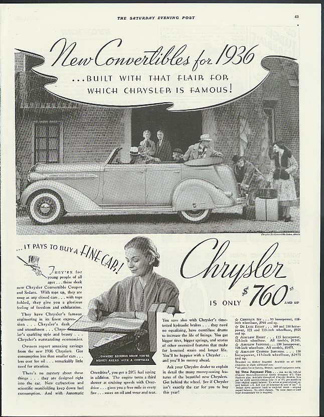 Image for New Convertibles for 1936! Chrysler Six Convertible Sedan ad