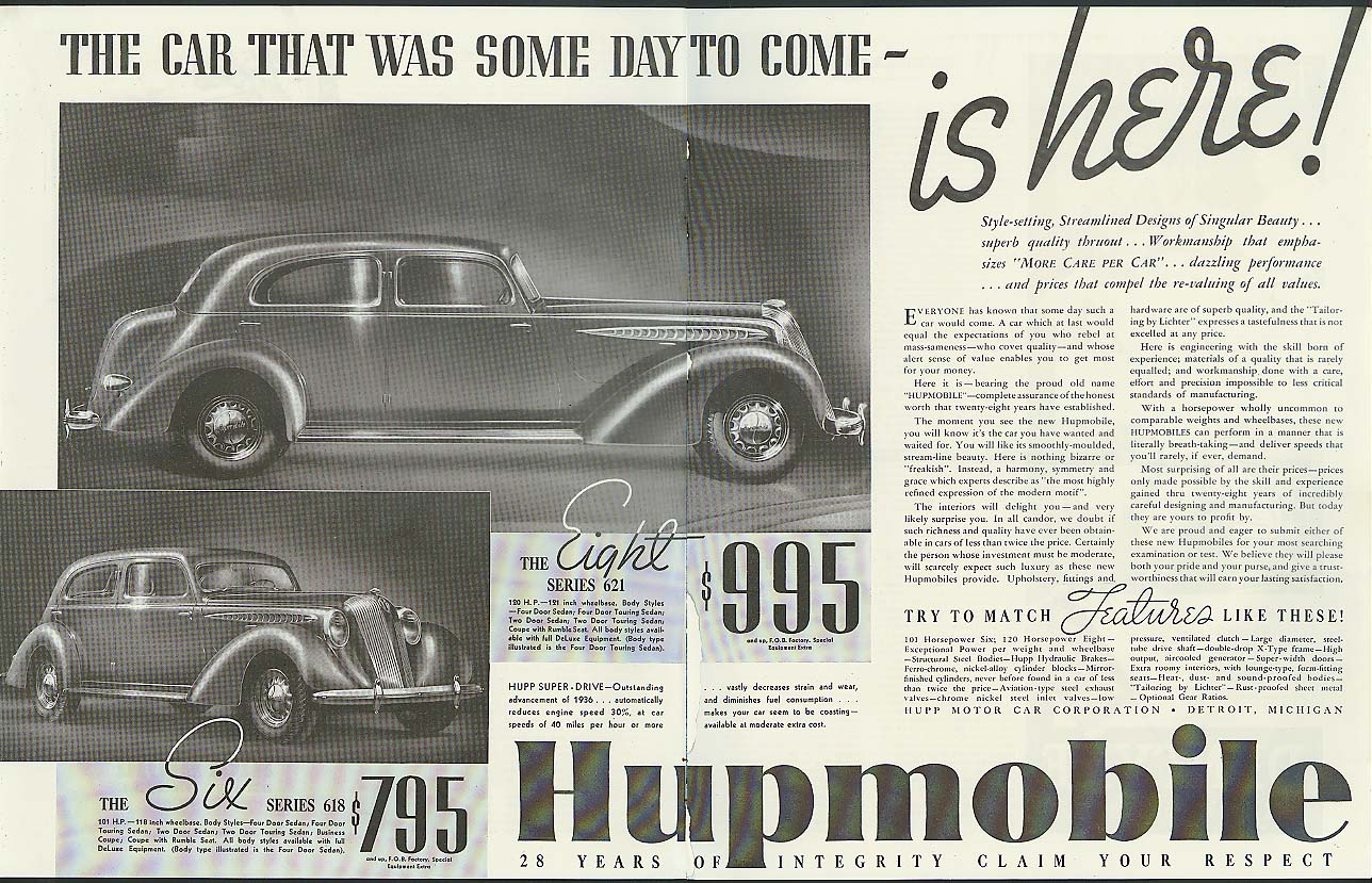 The car that was some day to come - is here! Hupmobile Six & Eight ad 1936