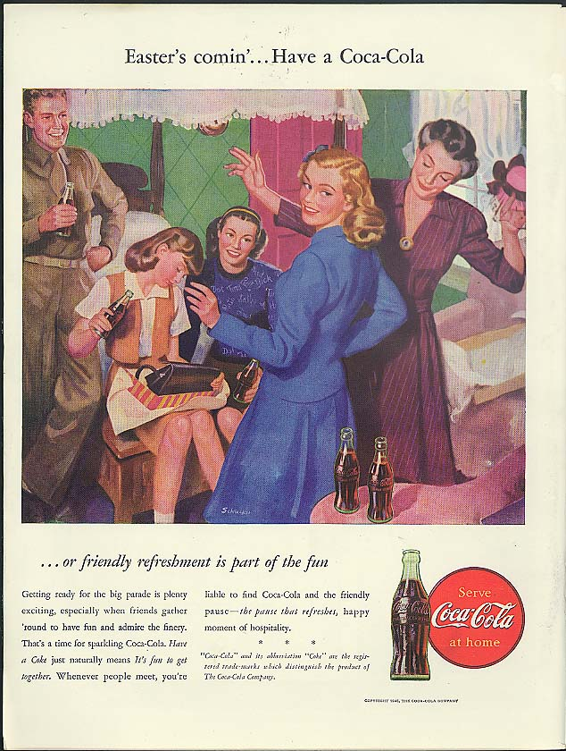 Easter's comin' - Have a Coca-Cola ad 1946 art by James W Schucker