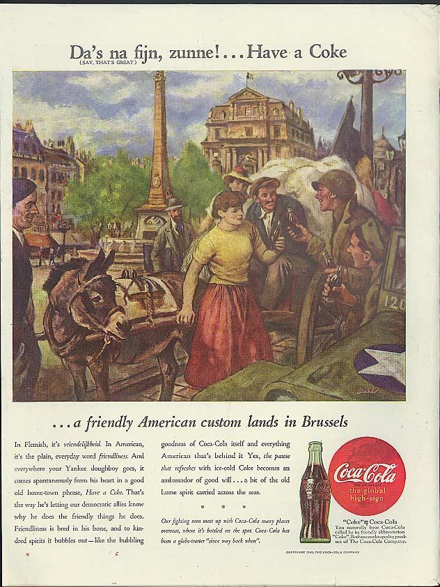 Da's na fijn, zunne! = Have a Coca-Cola in Brussels ad 1945 art by Stahl