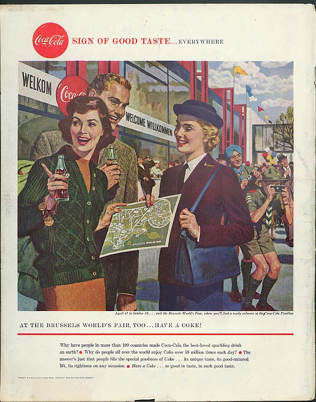 At the Brussels World's Fair, too Have a Coca-Cola ad 1958
