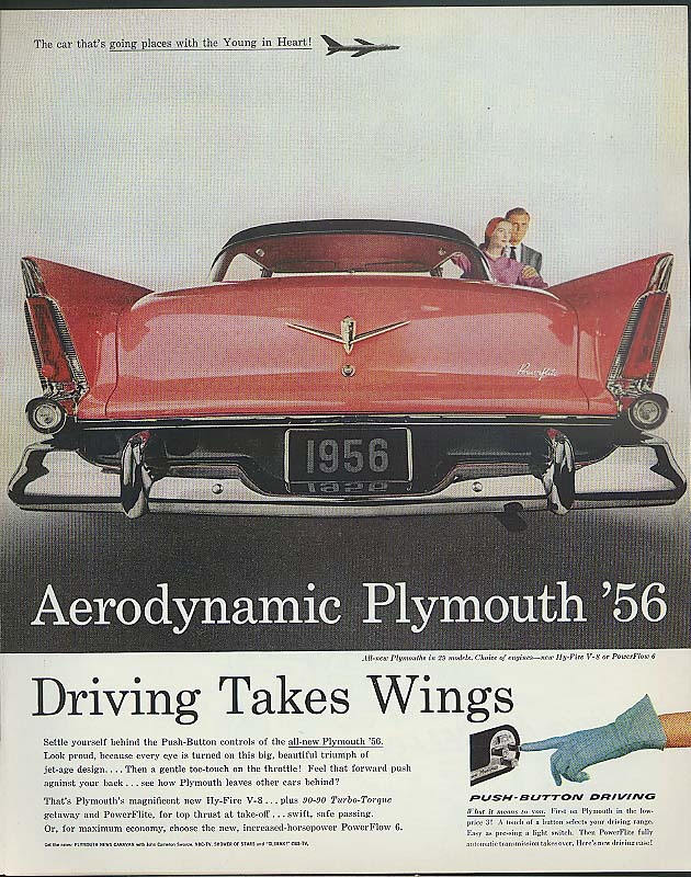 Driving Takes Wings Aerodynamic Plymouth '56 ad 1956