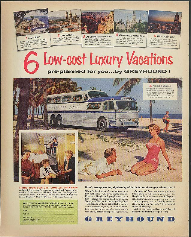 6 Low-Cost Luxury Vacations pre-planned by Greyhound Bus ad 1955