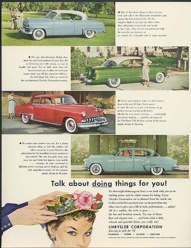 Image for Talk about doing things! Plymouth Dodge De Soto Chrysler ad 1953