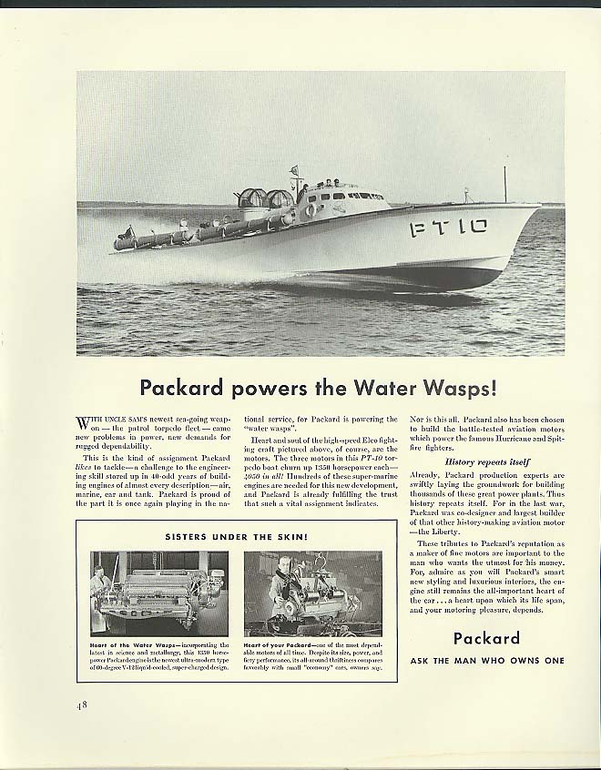 Packard powers the Water Wasps! PT Boat ad 1941