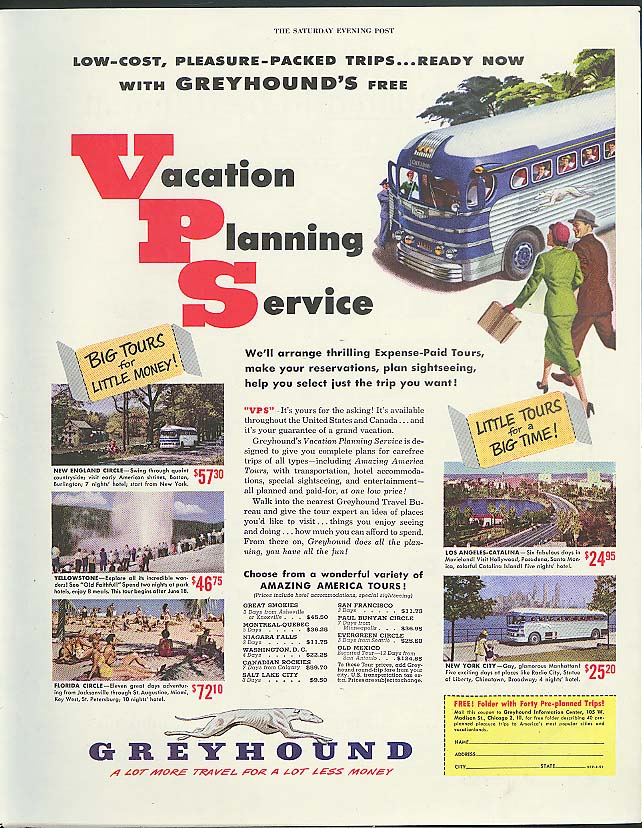 Image for Vacation Planning Service low-cost trips Greyhound Bus ad 1951