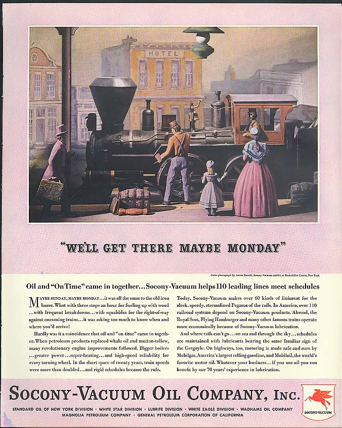 Image for We'll get there maybe Monday Socony-Vacuum Oil ad 1936 Anton Bruehl photo