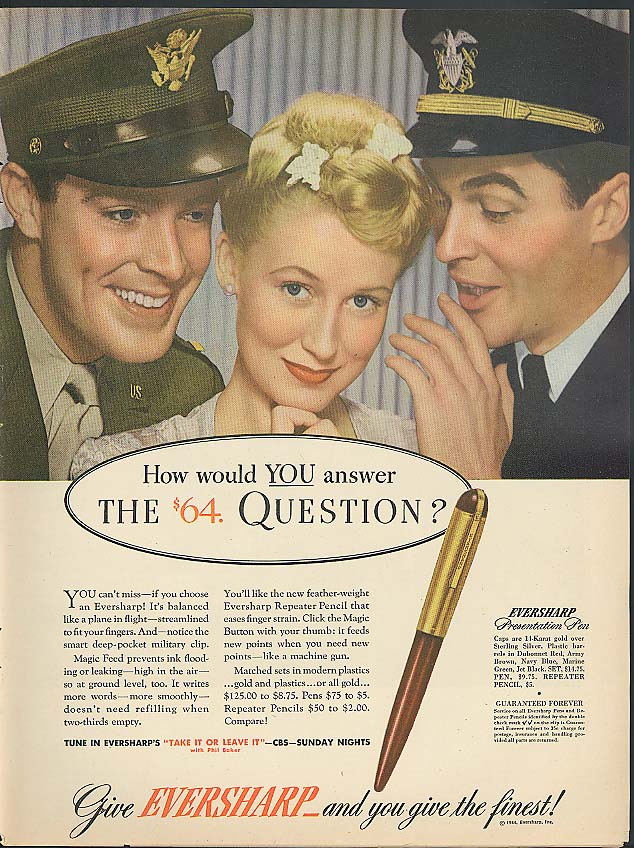 Image for How would YOU answer the $64 Question? Eversharp Pen ad 1944 Army Navy