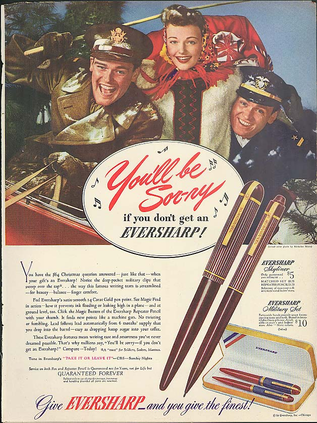 Image for You'll be Sor-ry! If you don't Give Eversharp Pen ad 1942 Nickolas Muray photo
