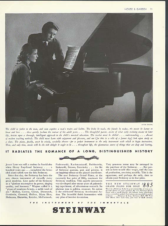 The romance of a long distinguished history Steinway Piano ad 1937 Bruehl photo