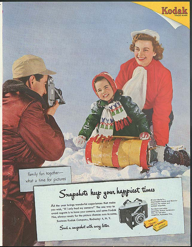 Snapshots keep your happiest times Kodak ad 1952 toboggan riders