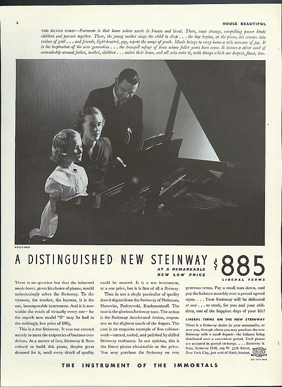 The Silver Cord A Distinguished New Steinway Piano ad 1936 Steichen photo