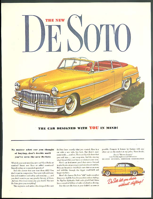 Image for The New De Soto Convertible designed with You in mind! ad 1949