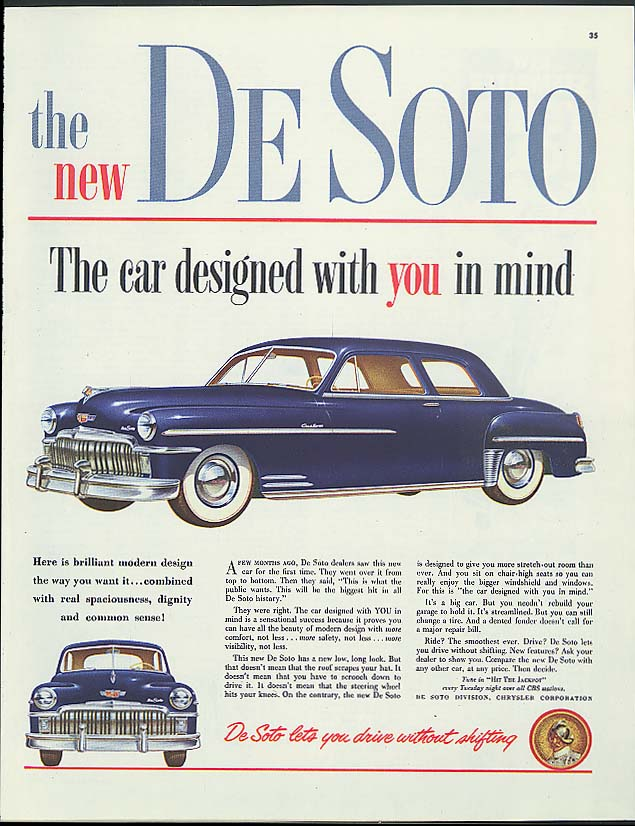Image for The new De Soto Custom Club Sedan designes with You in mind ad 1949