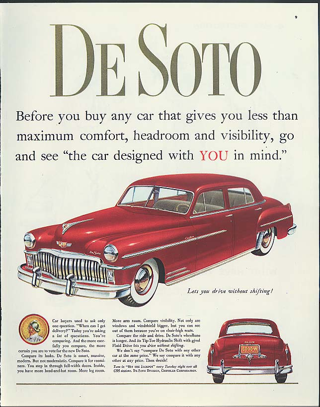 Image for Before you buy any car De Soto Custom 4-door sedan ad 1949