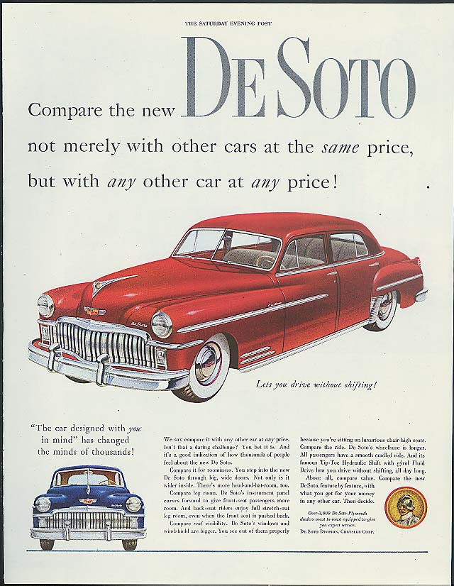 Image for Compare the new De Soto not merely with other cars ad 1949