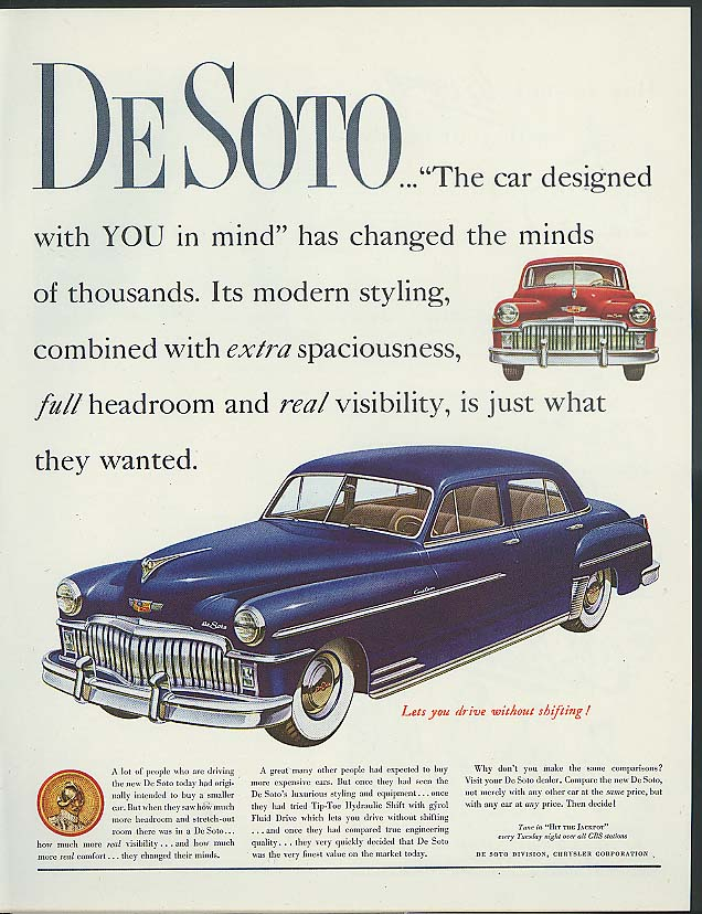 Image for De Soto Custom Sedan has changed the minds of thousands ad 1949