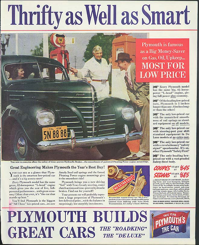 Image for Thrifty as Well as Smart Plymouth ad 1939