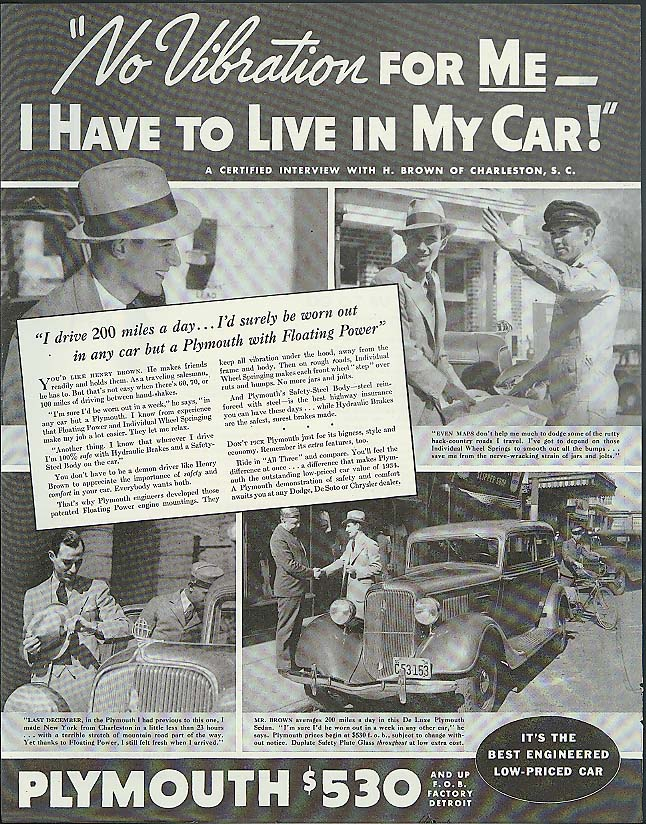 Image for No Vobration for ME I have to live in my car! Plymouth ad 1934