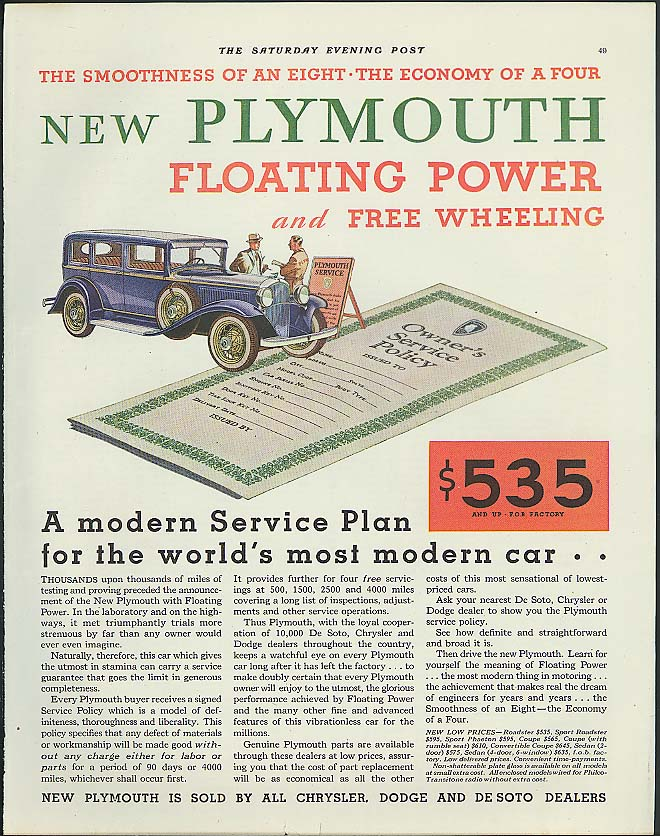 A Modern Service Plan world's most modern car Plymouth ad 1932