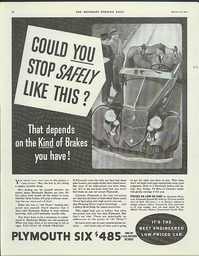 Could YOU stop safely like this? Plymouth Roadster ad 1934
