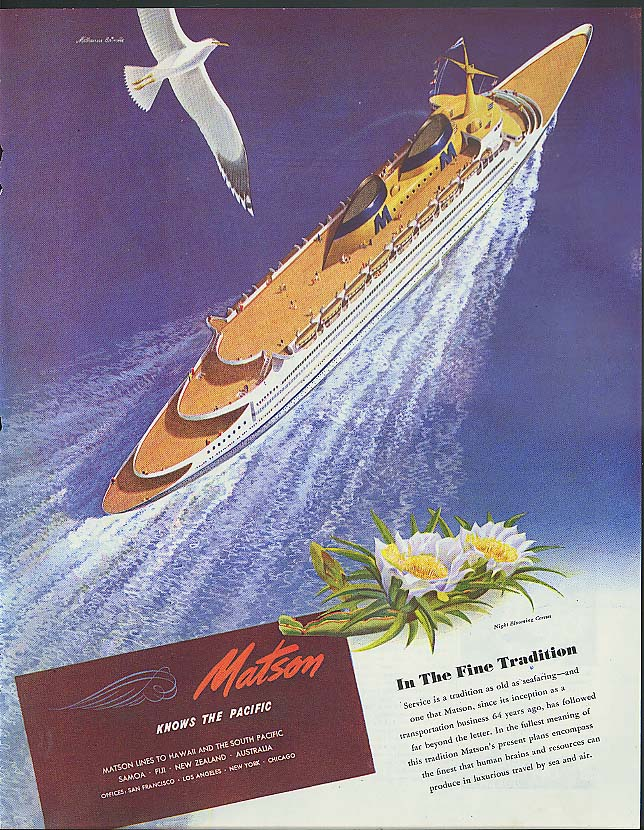 In the Fine Tradition: Matson Line ocean liner ad 1946 Melbourne Brindle art