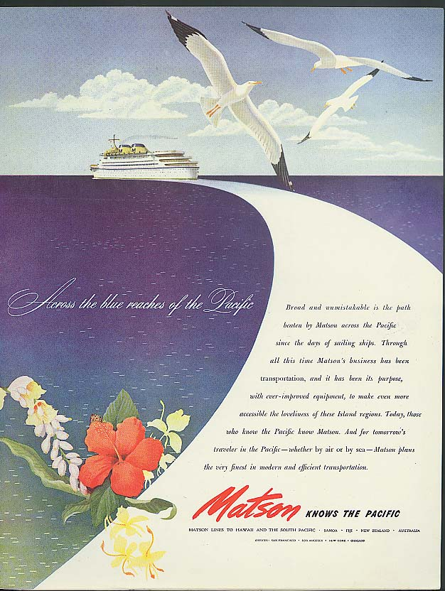 Across the blue reaches of the Pacific Maton Lines ad 1946