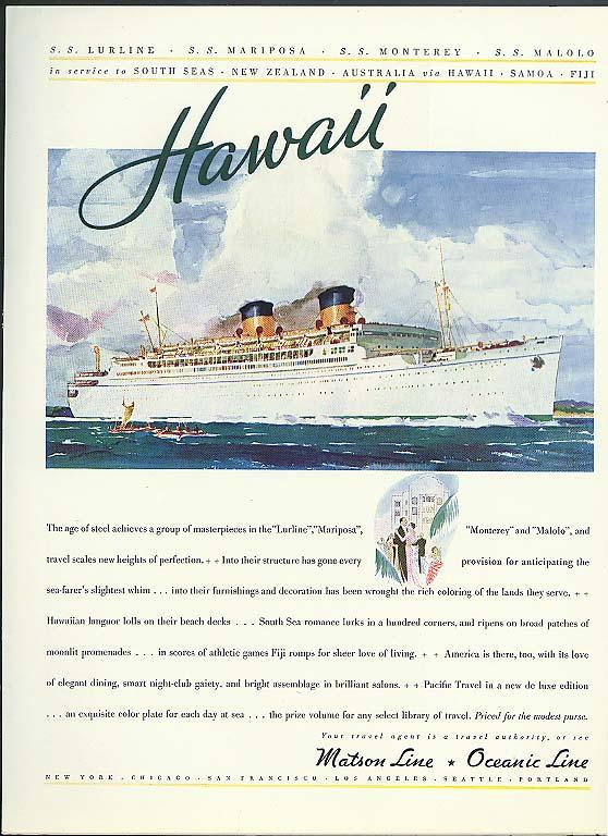 Hawaii SS Lurline Matson Line / Mrs Thomas M Carnegie Jr Camel Cigarette ad 1942