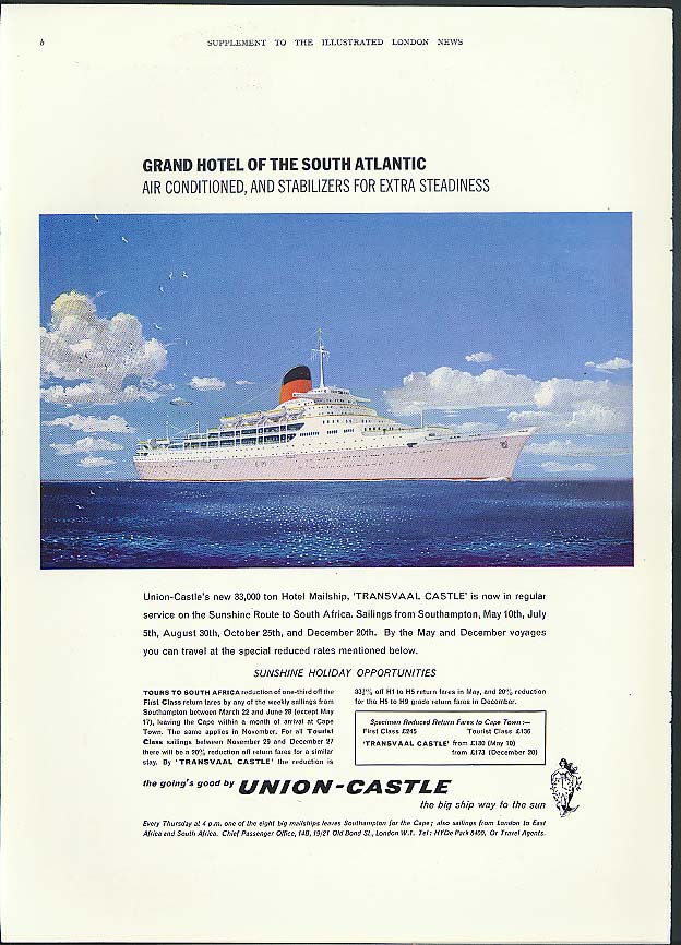 Grand Hotel of the South Atlantic Union-Castle RMS Transvaal Castle ad 1962