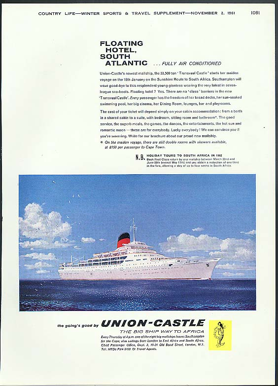 Floating Hotel South Atlantic RMS Transvaal Castle Union-Castle ad 1961