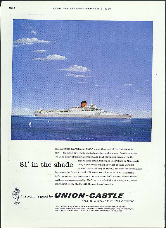 81 in the Shade RMS Windsor Castle Union-Castle ad 1960