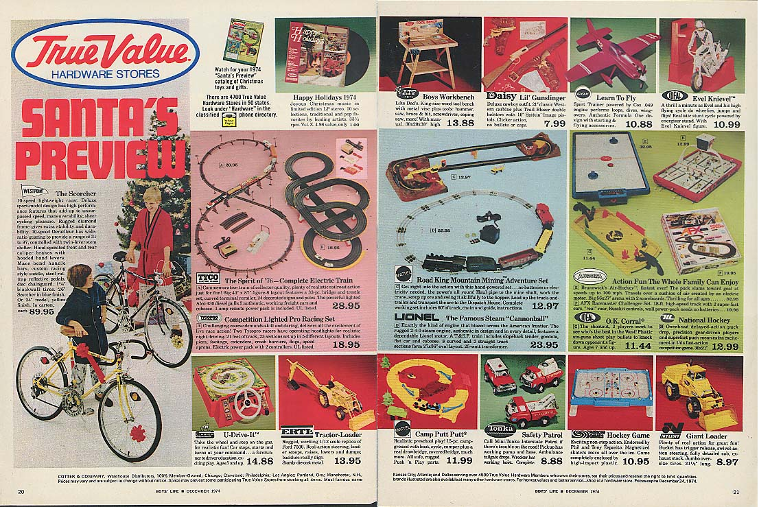 True Value ad 1974 Lionel Mattel Ideal Nylint Tonka Daisy Ertl Westpoint bicycle