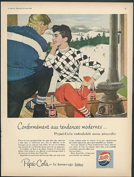 Conformement aux tendances modernes Pepsi-Cola ad 1954 in French; ski lodge
