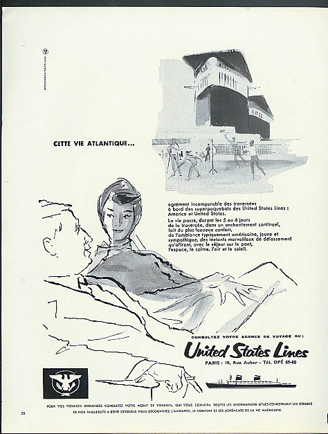 Cette vie Atlantique United States Lines S S United States ad 1962 in French