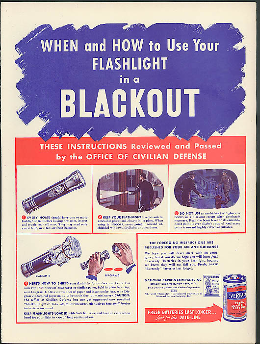 Image for When & How to Use Your Flashlight in a Blackout Everready Battery ad 1942