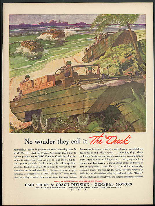 No wonder they call it The Duck! GMC Truck & Coach Army Amphibian ad 1943