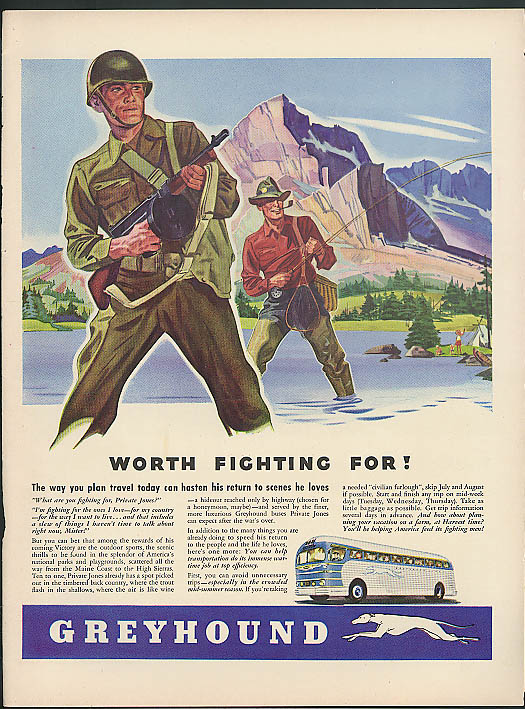 Greyhound Bus Worth Fighing For! / International Trucks Army Half-Track ad 1943