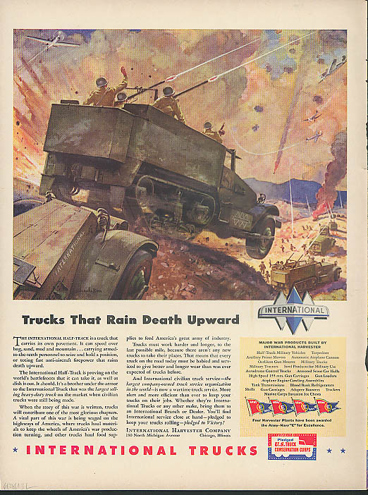 Image for Greyhound Bus Worth Fighing For! / International Trucks Army Half-Track ad 1943