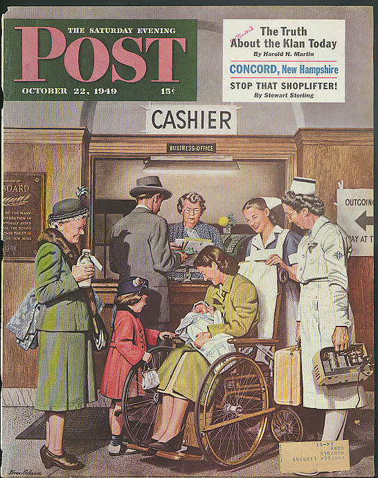 Baby home from hospital Saturday Evening Post cover 1949 Stevan Dohanos