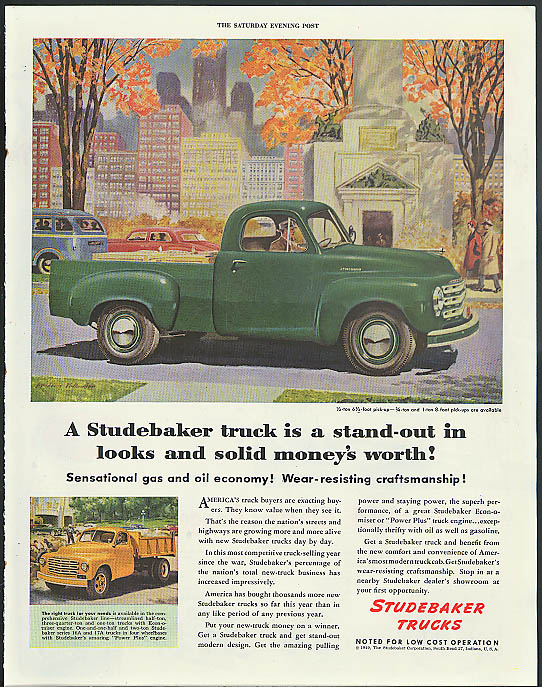 A Studebaker truck is a stand-out in looks & money's worth ad 1949 pickup